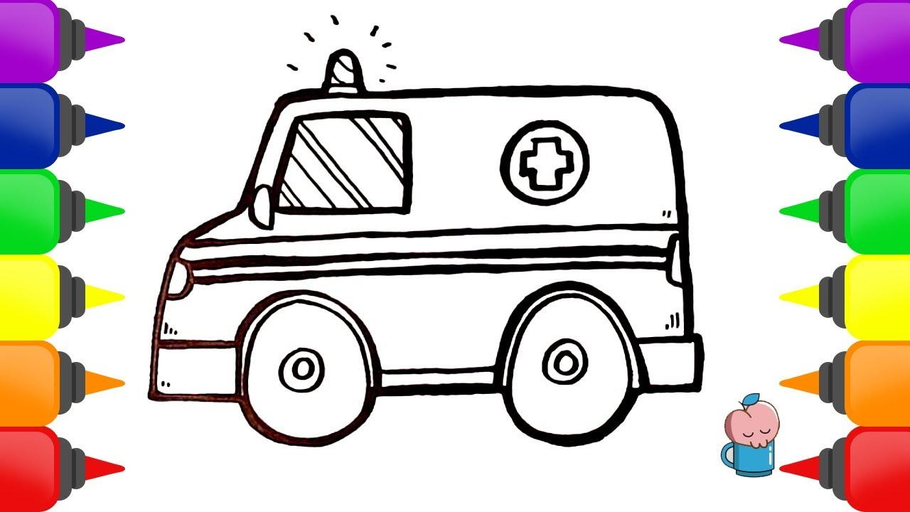 Cara Menggambar Dan Mewarnai Mainan Mobil Ambulance Youtube