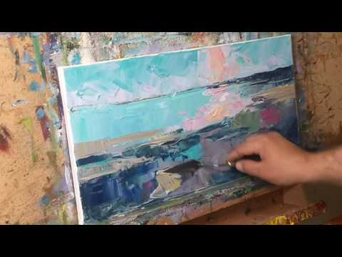 Oil Painting Session Demo of a Seascape Beach, Shore, by Artist JOSE TRUJILLO