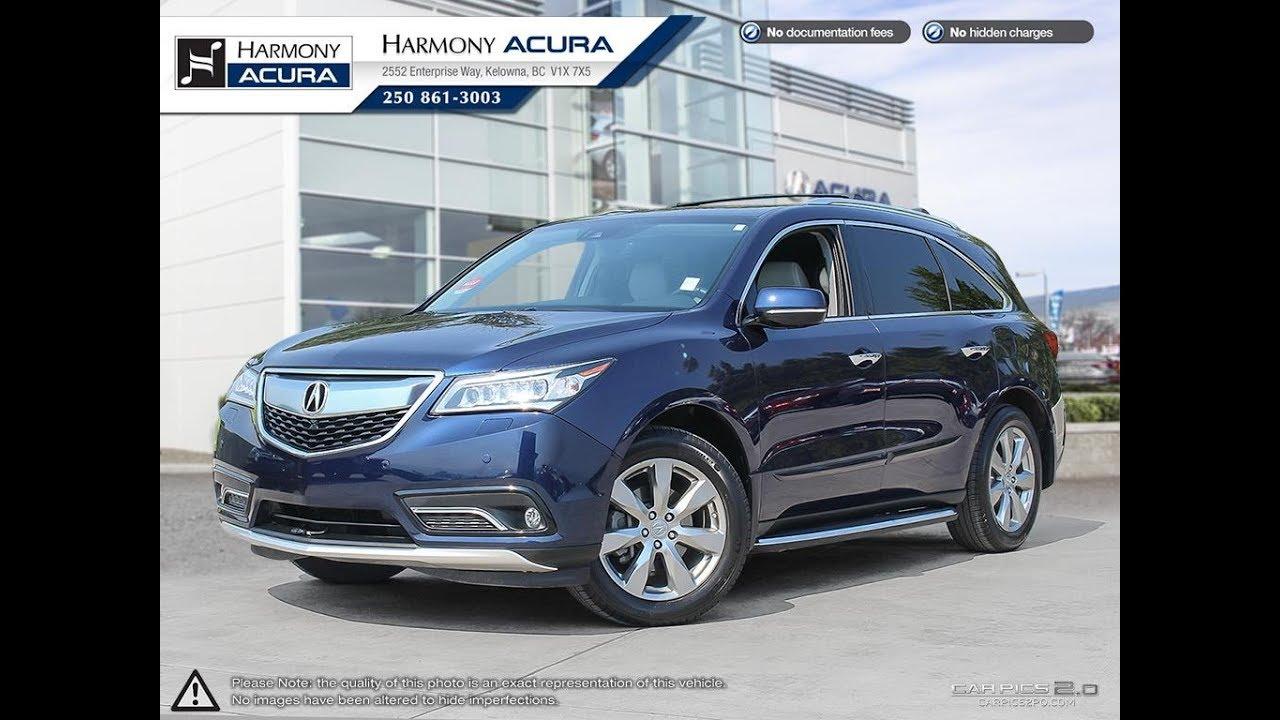 2016 Acura Mdx Elite Pkg Harmony Blue Au2181 Kelowna Bc