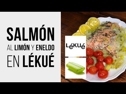 Salmón en LÉKUÉ con Limón y Eneldo [Receta fácil para estuche de vapor] al Microondas