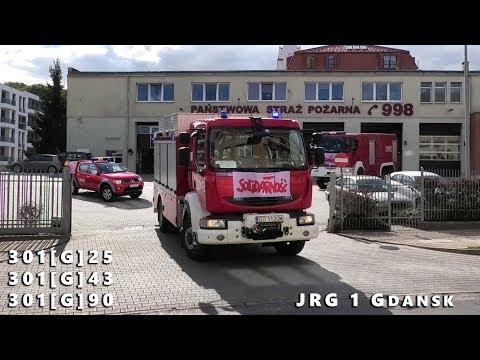 Wyjazd alarmowy 3 zastępów z JRG 1 GDAŃSK - GCBA SRt SLOp - Straż Pożarna alarmowo