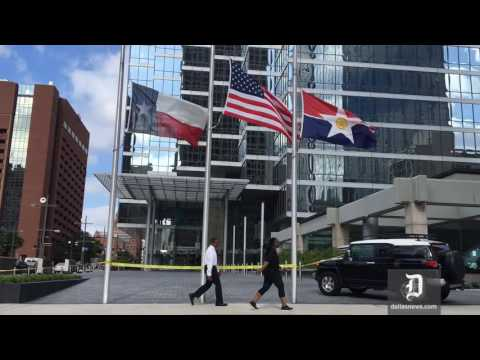 Flags Flown At Half-staff At Bank Of America Plaza