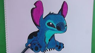 Como dibujar y pintar a Stitch (Lilo y Stitch) - How to draw and paint Stitch