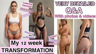12 WEEK TRANSFORMATION - week one workout video vs week 12 - detailed Q&A