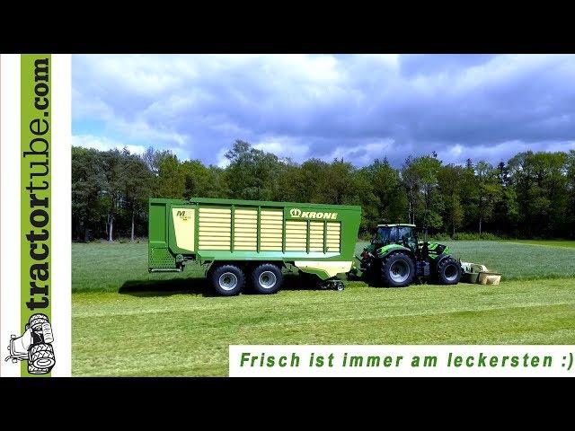 Frischgras füttern für 200 Milchkühe mit Krone MX 370  GD / zero grazing