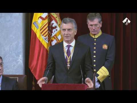 El presidente de Argentina, Mauricio Macri, se dirige a las Cortes Generales (22/02/2017)