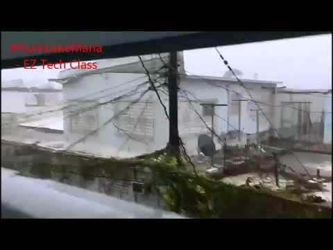 Hurricane Maria winds peeling off roofs at metropolitan area of Rio Piedras, San Juan, Puerto Rico
