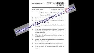 IDE UNOM Financial Management Dec 2015 Question Paper
