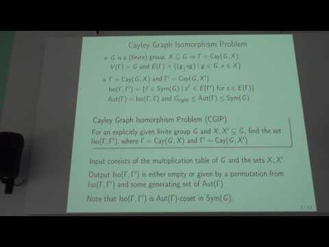 "Andrey Vasil'ev - Plenary talk ""Testing isomorphism of central Cayley graphs over..."""