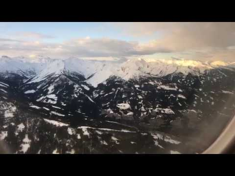 Landing at Innsbruck Airport, Austrian Airlines, Embraer E195, April 2018
