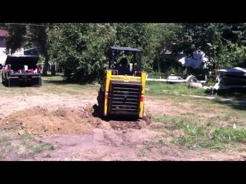 Mustang 320 Skid Loader Moving Dirt For A Garage Floor YouTube