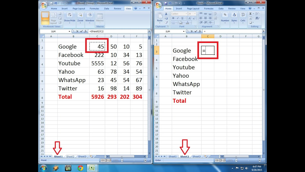 worksheet Link Data In Excel Worksheets how to link formula one sheet other sheets in ms excel youtube excel