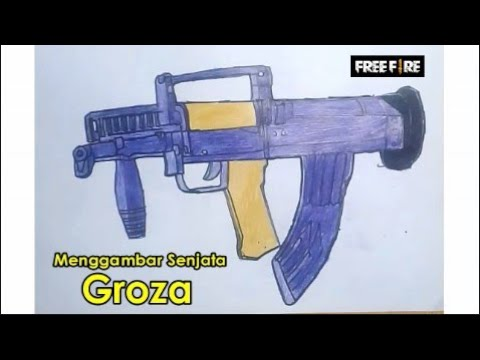 Cara Menggambar Senjata Groza Free Fire Drawing Groza Free Fire Youtube