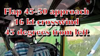 Cessna L19 O-1 Birddog landing in crosswind,.... full right rudder and brakes but plane turned left