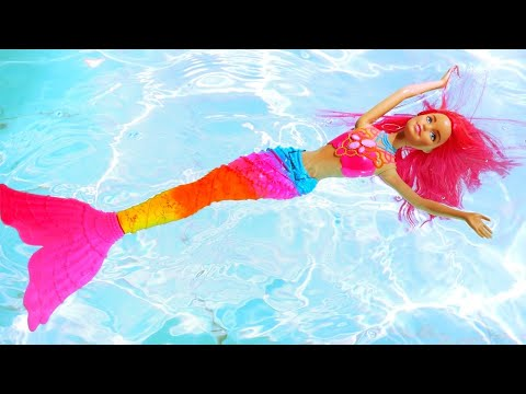 Barbie And Mermaid At The Water Park - Doll Videos.