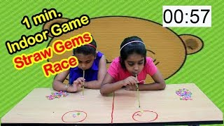 One minute Indoor Game Straw Gems  Race/Indoor party games for kids,