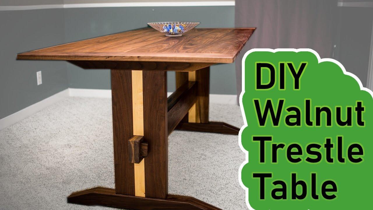 Diy  Walnut Trestle Table  Youtube