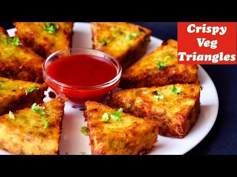 Crispy Vegetable Triangles, Sooji snacks, Healthy Breakfast recipe, easy snack recipe, Veg Nashta