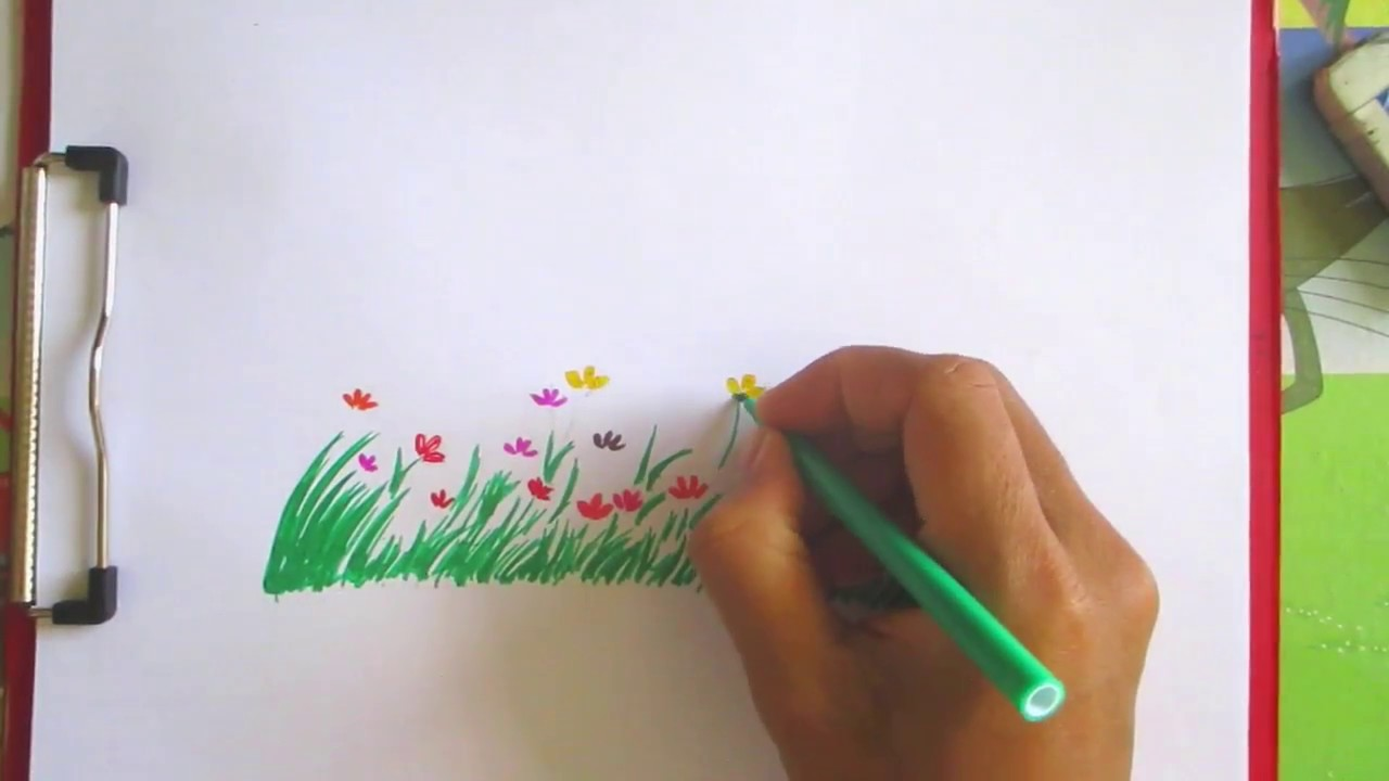 How to draw grass and flowers scenery drawing channel47 youtube how to draw grass and flowers scenery drawing channel47 ccuart Images