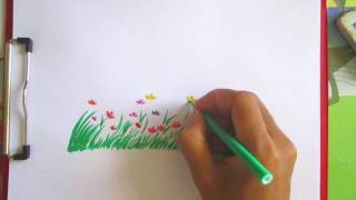 How to draw grass and flowers | Scenery Drawing Channel#47