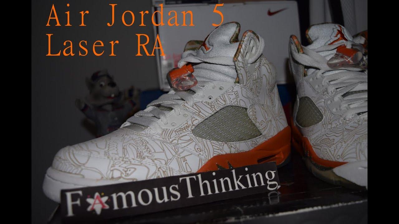 91d2f3f648b Air Jordan 5 Laser RA Detailed Close Up Look - YouTube