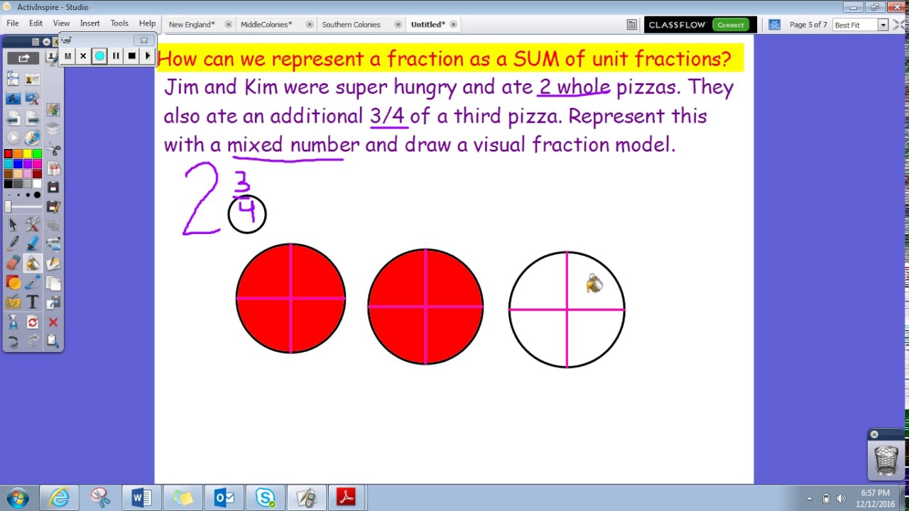 worksheet Visual Fractions represent mixed numbers as sum of unit fractions youtube fractions