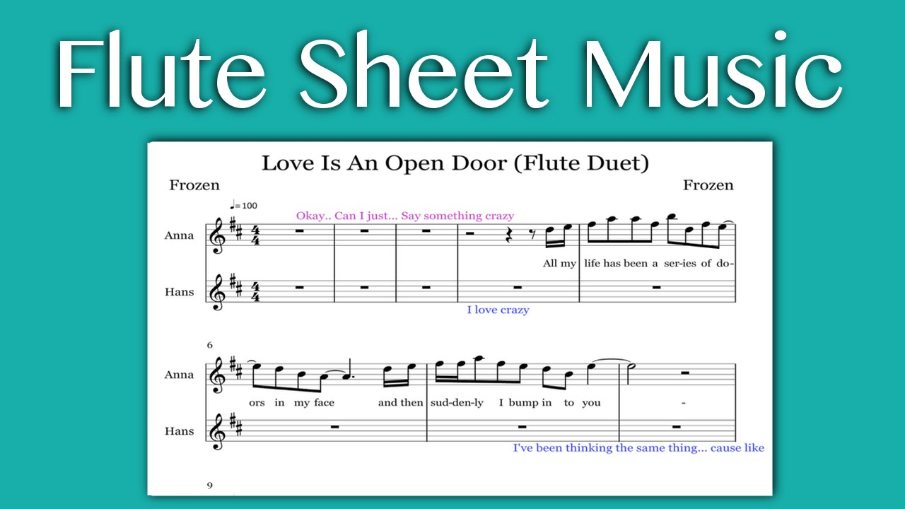 Love Is An Open Door - Frozen (Flute Sheet Music)  sc 1 st  YouTube & Love Is An Open Door - Frozen (Flute Sheet Music) - YouTube