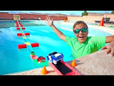 Giant Floating Magic Tracks Swimming Pool Bridge RC Adventure!