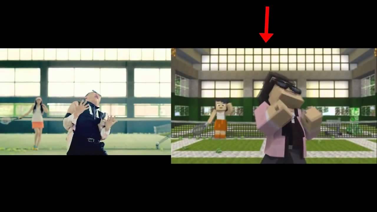 comparatif gangnam style vs minecraft style 강남스타일 m v youtube