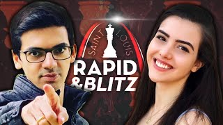 Watching St. Louis Rapid \u0026 Blitz with Alexandra Botez (ft. Sagar Shah!)
