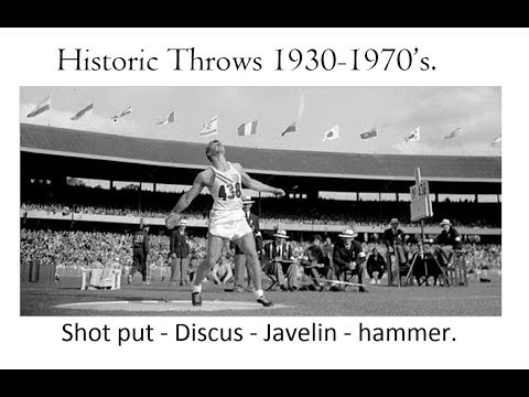 Historic Throws 1930-1970's. Shot put, Discus, Javelin & hammer.