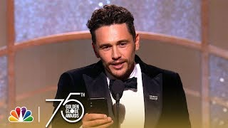 James Franco accepts the award for Best Performance by an Actor in a Motion Picture - Musical or Comedy at the 75th Annual Golden Globe Awards.