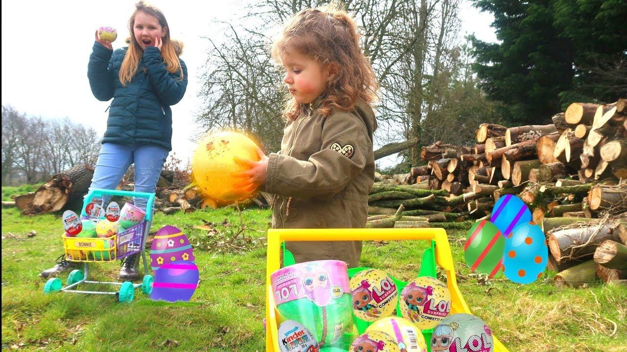 Outdoor Kinder Gold Easter Egg Hunt L O L Surprise Toys Kinder Eggs Video For Kids Outdoor Fun Ruby Rube Bonnie