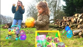 Gold Easter Egg Hunt L.O.L Surprise Toys Kinder Eggs video for kids outdoor fun Ruby Rube & Bonnie