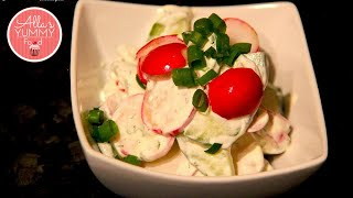 Cucumber & Radish Salad, Healthy Salad Recipe - Салат с редисом и огурцами рецепт