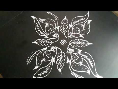 Simple ,latest and creative flowers rangoli..9 to 1 dots