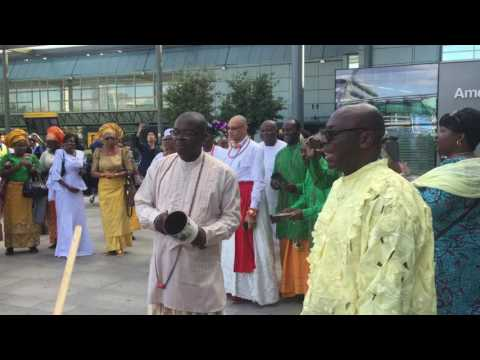 The Olu of Warri - His Majesty Ogiame Ikenwoli at Heathrow airport 2016 - 2