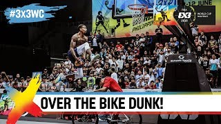 Guy Dupuy dunks over Mike Swift on a Bike! | FIBA 3x3 World Cup 2018
