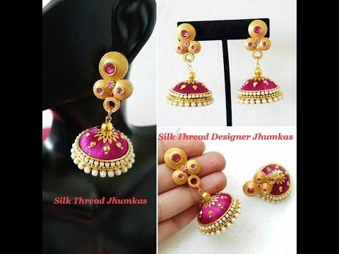b9507a095 Making Designer Silk Thread Jhumkas ||Quilling Stud ||Silk Thread Jhumkas |  PapercraftSquare.com