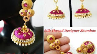 Making Designer Silk Thread Jhumkas ||Quilling Stud ||Silk Thread Jhumkas