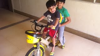Brothers Playing With New Bicycle, Kids Funny Video, Children Playing Outside by JeannetChannel