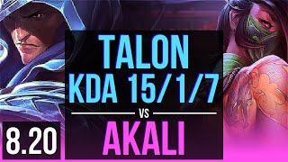 TALON vs AKALI (MID) | KDA 15/1/7, Legendary | Korea Challenger | v8.20