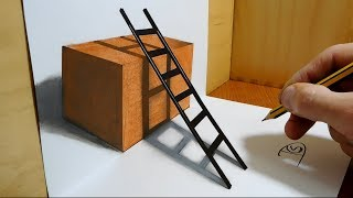 3D Trick Art on Paper   Stair in the Box