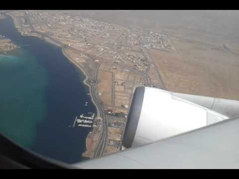 Jeddah International Airport Take Off By Boeing 747 with Red Sea View and Hajj terminal