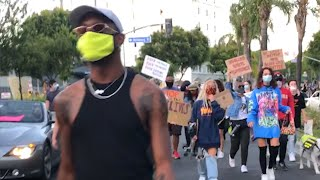 Protesters Sit for Peaceful Protest in Los Angeles