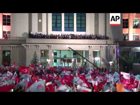 Turkish Prime Minister Recep Tayyip Erdogan gives victory speech, reaction