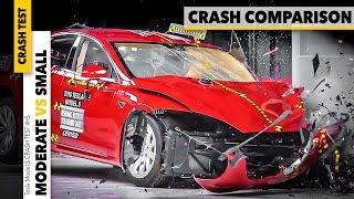 Tesla Model S CRASH TEST COMPARISON - Small Overlap vs Moderate Overlap Crash Car IIHS [GOMMEBLOG]