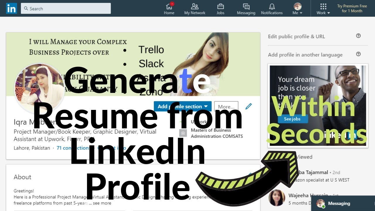 How To Get Professional Pdf Cv Resume From Linkedin Within
