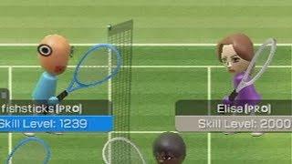 playing ELISA in wii sports tennis raging and funny moments