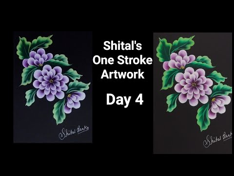 Beginners Guide |Simple Flower In One Stroke Painting  Day 4